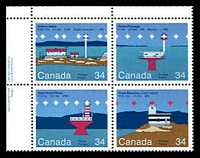 Lot 3592:1985 Lighthouses SG #1176-9 34c se-tenant block of 4.