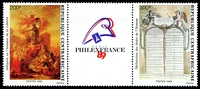 Lot 3799:1989 Philex France '89 SG #1346-7 200fr & 300fr pair and label.