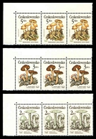 Lot 21075:1989 Poisonous Fungi SG #2992-6 set of 5 in strips of 3, Cat £12.75.