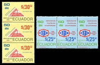 Lot 21272:1985 50th Anniv. of Ecuador Philatelic Assoc. Bicentenary of French Revolution SG #1942-3 set of 2 in strips of 3.