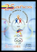 Lot 3895:2005 25th Anniv. of Olympic Academy SG #2766 $2 Imperf. M/sheet, Cat £11.50.