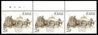 Lot 3906:1989 Bicentenary of Irish Mail Coach Service SG #727 28p in strip of 3.