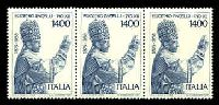 Lot 3835:1983 25th Death Anniversary of Pope Pius XII SG #1787 1400l strip of 3, Cat £10.50.