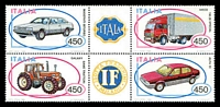 Lot 4233:1984 Italian Motor Industry SG #1826a block of 4 with 2 labels, Cat £10.50.