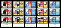 Lot 4109:1989 Anniversaries and Commemorations SG #855-9 set of 5 in strips of 3, Cat £12.75.
