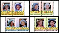 Lot 23118:1985 Queen Mother SG #636a, 638a, 640a, 642a se-tenant pairs x3.