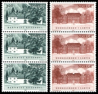 Lot 4470:1989 Manor Houses SG #1069-70 set of 2 in strips of 3.