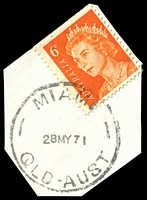 Lot 1539:Miami: - 'MIAMI/28MY71/QLD-AUST' on 6c orange QEII. [Rated S]  PO 2/9/1946.