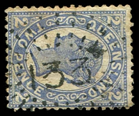 Lot 1329:133: rays (1e) on 2d blue Sideface. [Rated S]  Allocated to Village Of Logan-PO 1/1/1870; renamed Logan Village PO c.1886; closed 7/2/1969.
