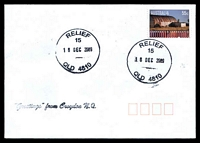 Lot 1722:15: 2 strikes of 38mm 'RELIEF/15/16DEC2009/QLD 4810' on 55c on unaddressed cover, 'Greetings from Croydon N.Q.' handstamp.