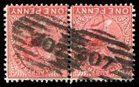 Lot 1285:307 2 partly overlapping strikes on 1d red DLR pair.  Allocated to Adelaide-PO 10/4/1837.