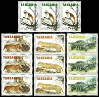 Lot 4720:1985 Rare Animals of Zanzibar SG #420-3 set of 4 in strips of 3.