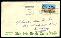 Lot 4499:Glen Iris Brick Co. Pty Ltd. cover for Fancy Color & Moulded Bricks (Green printing), franked with 5d Commonwealth Games, 12 Dec 1962 Melbourne slogan cancel.