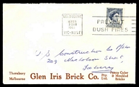 Lot 600:Glen Iris Brick Co. Pty Ltd. cover for Fancy Color (sic) & Moulded Bricks (Brown printing), franked with 5d QEII, 16 Feb 1963 Melbourne slogan cancel.