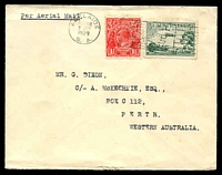 Lot 609:1929 Adelaide - Perth AAMC #136 3d green Airmail & 1½d red KGV cancelled with 'ADELAIDE/8AM/2JUN/1929/S.A.' slogan cancel on plain cover to Perth, endorsed 'Per Aerial Mail', typed addressed.