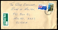 Lot 4680 [1 of 2]:1978 use of 18c Australia Day & 50c Australian Scene, cancelled with 'FOOTSCRAY    /9FE78/VIC-AUST' ('W.11' removed - WWW #230C) on long cover with green & white Certified Mail label attached, addressed to Melton, Victoria.
