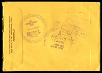 Lot 4683 [2 of 2]:1990 use of 41c Radio Australia & 55c Fishing pair, cancelled with 2 strikes of 'FLINDERS LANE/2JAN1990/2/VIC 3000' (A2 - WWW #20B) on cover addressed to Wagga Wagga, NSW with Certified Mail label on face.