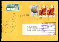 Lot 4683 [1 of 2]:1990 use of 41c Radio Australia & 55c Fishing pair, cancelled with 2 strikes of 'FLINDERS LANE/2JAN1990/2/VIC 3000' (A2 - WWW #20B) on cover addressed to Wagga Wagga, NSW with Certified Mail label on face.