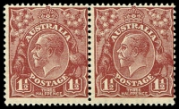 Lot 823:1½d Red-Brown Die II - BW #94 horizontal pair.