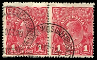 Lot 1870:1d Red Harrison Printing BW #74(4)vb Run N - (third state), Cat $100, right-hand unit of reconstructed pair cancelled with 2 partly overlapping strikes 'TIMBER MILLS GREENBUSHES/16OCT20/WE[STN AUSTRALIA]