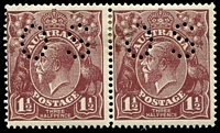 Lot 169:1½d Brown Die I - BW #85(5)e horizontal pair [5L13-14], right unit White flaw on 'T' of 'POSTAGE', perf 'OS', Cat $120+, hinge remainder, stain on back.