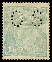 Lot 273:1/4d Greenish Blue - BW #128ba perf 'OS', Cat $175, small thin on back, gum bends.