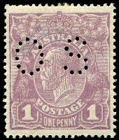 Lot 176:1d Violet BW #76(4)h [VII/37] Flaw under neck, perf 'OS', Cat $120, thin on back, short perf.