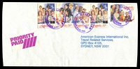 Lot 1476 [1 of 2]:Wyoming (2): - 3 strikes of 'POST OFFICE/30DEC1987/WYOMING N.S.W. 2250' in violet on 30c x4 (one triple) & 37c Xmas on American Express cover (opened out, trimmed on sides) with small Priority Paid label, 24-hr 'GOSFORD MAIL/CENTRE NSW/30DEC1987/PRIORITY/PAID/OFFICE' and violet 24-hr 'CITY DELIVERY CENTRE/SYDNEY/2JAN1988/PRIORITY/PAID' backstamps.  PO 16/4/1945.
