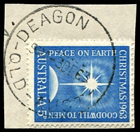 Lot 1615:Deagon: - 'DEAGON    /930A-3DE63/QLD-AUST' ('N.E.7' removed) on 5d Xmas. [Rated S]  PO 18/6/1847.