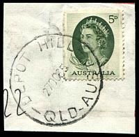 Lot 8153:Depot Hill: - 'DEPOT HILL/27OC65/QLD-AUST' on 5d green QEII. [Rated R]  PO 2/12/1946; closed 6/10/1977.