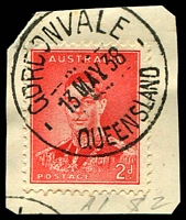 Lot 1231:Gordonvale: 'GORDONVALE/13MAY38/QUEENSLAND' (recut) on 2d red KGVI. [Rated 2R]  Renamed from Nelson PO 17/6/1915.