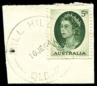 Lot 9057:Mill Hill: - 'MILL HILL/18JE64/QLD-AU[ST]' (ERD) on 5d green QEII. [Rated 4R]  RO c.1892; PO 1/7/1927; closed 8/1/1967.