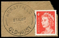 Lot 1197:Morayfield: - 'MORAYFIELD/21AU67/QLD-AUST' on 4c red QEII. [Rated R]  RO c.1898; PO 1/7/1927; closed 5/5/1978.
