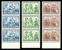 Lot 4540:1985 Birth Bicentenary of Alessandro Manzoni SG #1254-6 set of 3 in strips of 3.