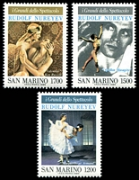 Lot 4541:1989 Celebrities of Show Business - Rudolf Nureyev SG #1352-4 set of 3.