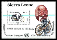 Lot 4554:1985 Centenary of the Motor Cycle and Decade For African Transport SG #889 12l M/sheet.
