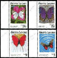 Lot 4138 [1 of 2]:1989 Butterflies SG #1031B-5Bd 1l, 2l, 3l, 9l, 12l & 16l, Cat £29.50.