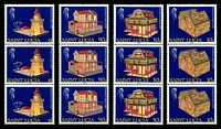 Lot 4375:1989 Christmas SG #1033-6 set of 4 in strips of 3.