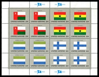 Lot 26198:1985 Flags of Member Nations 6th Series Sc #462-5 Sheetlet of 16 (Flags of Oman, Ghana, Sierra Leone & Finland in blocks of 4).