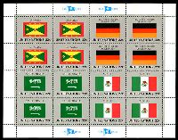 Lot 4253:1985 Flags of Member Nations 6th Series Sc #450-3 Sheetlet of 16 (Flags of Grenada, Germany, Saudi Arabia & Mexico in blocks of 4).
