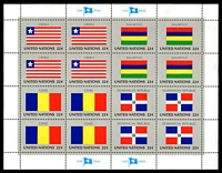 Lot 26197:1985 Flags of Member Nations 6th Series Sc #458-61 Sheetlet of 16 (Flags of Liberia, Mauritius, Chad & Dominican Republic in blocks of 4).