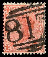 Lot 10853:817: '817' on 1d pink. [Rated SS]  Allocated to Ross Bridge-PO 21/11/1873; closed 2/3/1962.
