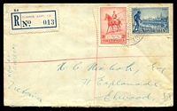 Lot 2654 [1 of 2]:Elwood East: - WWW #10A violet 'ELWOOD EAST S.3/2SE36/VIC.' (Opening Day) on 2d Jubilee & 3d Vic Centenary with blue provisional registration label. [Rated R - better backstamp]  PO 2/9/1935; closed 14/11/1979.