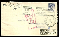 Lot 15592 [1 of 2]:Flemington: - WWW #146C 'FLEMINGTON.W.1/2/29JA63/VIC-AUST' arrival on unclaimed Henderson & Ball, Solicitors, Melbourne cover, 5d QEII cancelled with 11 Jan 1963 Melbourne Machine, boxed 'UNCLAIMED AT/FLEMINGTON' (A2) on face & magenta 'RETURN/TO/SENDER/D.L.O. MELB.' (A2) pointed-finger on face and back. [Rated R]  PO 1/1/1854.