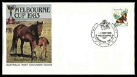 Lot 15594:Flemington: - WWW #320 pictorial '{horses}/1NOV1983/MELBOURNE/CUP/FLEMINGTON VIC. 3031/{horse-shoe}' on 30c Butterfly on illustrated APO Melbourne Cup cover, unaddressed.  PO 1/1/1854.