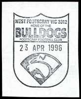 Lot 2424:Footscray (1): - WWW #292 pictorial 'WEST FOOTSCRAY VIC 3012/HOME OF THE/BULLDOGS/FOOTSCRAY FOOTBALL CLUB/23APR1996/{logo}'.  PO 12/10/1857; renamed Footscray Delivery Centre DC 15/11/1993.