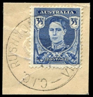Lot 16321:Rushworth Commonwealth Immigration Camp: - WWW #10 'C.I.C. RUSHWORTH/20??51/VIC. AUST.' on 3½d blue KGVI. [Rated 3P]  PO 1/6/1949; closed 15/6/1953.