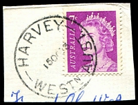 Lot 18221:Harvey (2): - 'HARVEY/15OC73/WESTN AUST.' (#B29a - time removed & date centred) on 7c QEII.  PO 1/2/1895.