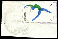 Lot 3629:Two Rocks: - double-circle 'TWO ROCKS/30JUL1976/W.A. 6037' #Gd/c38R-a on 18c Olympics.  PO 1/7/1974.