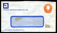 Lot 5068:Anderson Processed Foods Pty. Ltd. small logo on window-faced 5c Envelope reduced along top edge, uncancelled with hinge remains and taped flap.